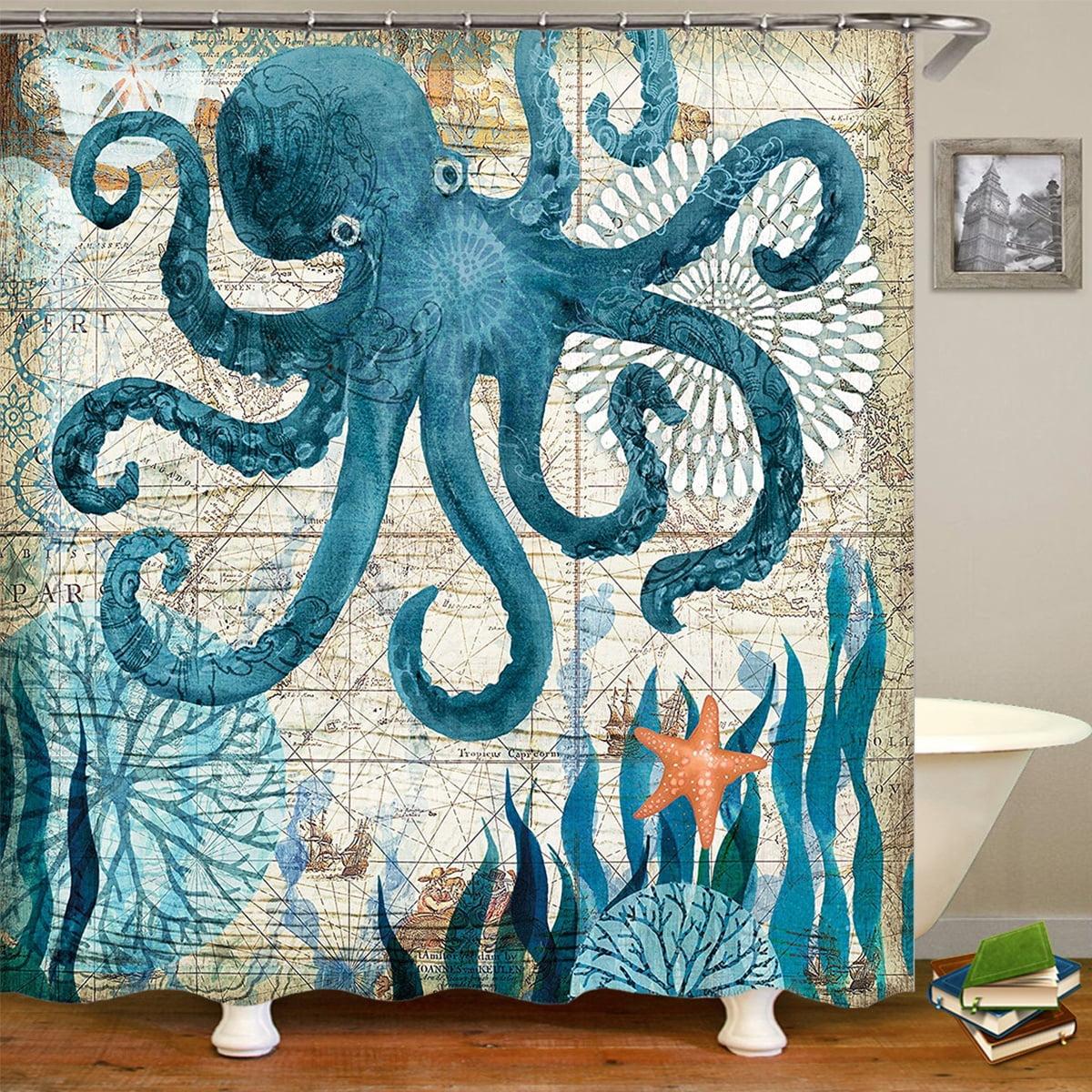 Waterproof Octopus Shower Curtain Polyester Fabric Bathroom