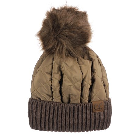 9cbf132106f C.C Soft Quilted Puffer Detachable Faux Fur Pom Inner Lined Cuff Beanie Hat,  Coffee - Walmart.com