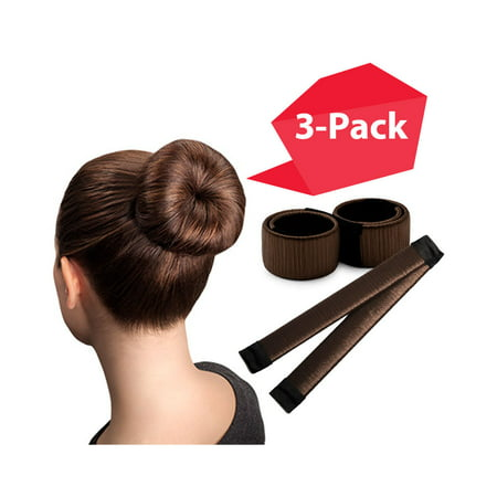 Brown Magic Bun Maker | 3 PACK | Perfect Hair Bun Maker | Hair Donut Maker | Easy Bun Hair | Ballet Bun Maker | Updo Hair Accessories | Bun Hair Tool | Grown Up & Kids Hair Accessories | Prom Hair ()