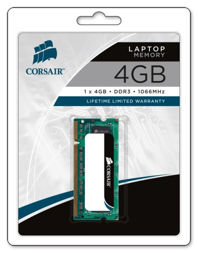 Corsair 4GB (1x4GB) DDR3 1066 MHz (PC3 8500) Laptop Memory (CM3X4GSD1066)