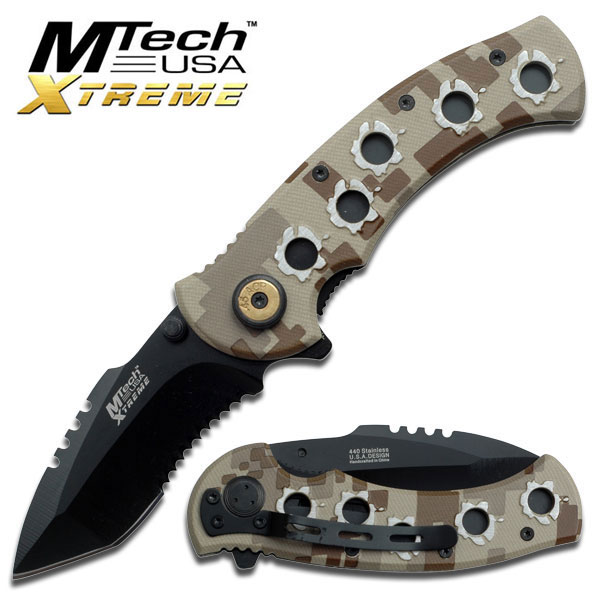 NEW! Mtech Extreme Brown Digital Camo Bullet Hole Serrated Folding Knife