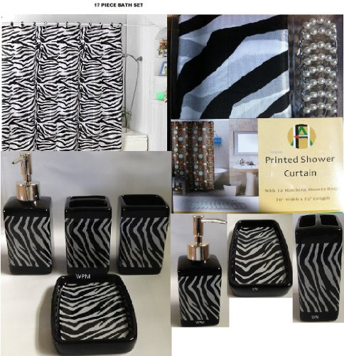 17 Piece Bath Accessory Set- Black Zebra Shower Curtain with Decorative Rings + Bathroom... by
