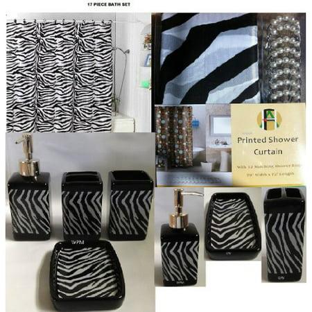 17 piece bath accessory set black zebra shower curtain for Fancy bathroom accessories sets