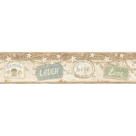 Brewster CTR63153B Kinsey Cream Live Laugh Love Border Wallpaper (Halloween Wallpaper Live)