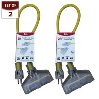 Royal Designs Indoor/Outdoor Heavy Duty 2 ft Yellow Extension Cord with Indicator light, Set of 2