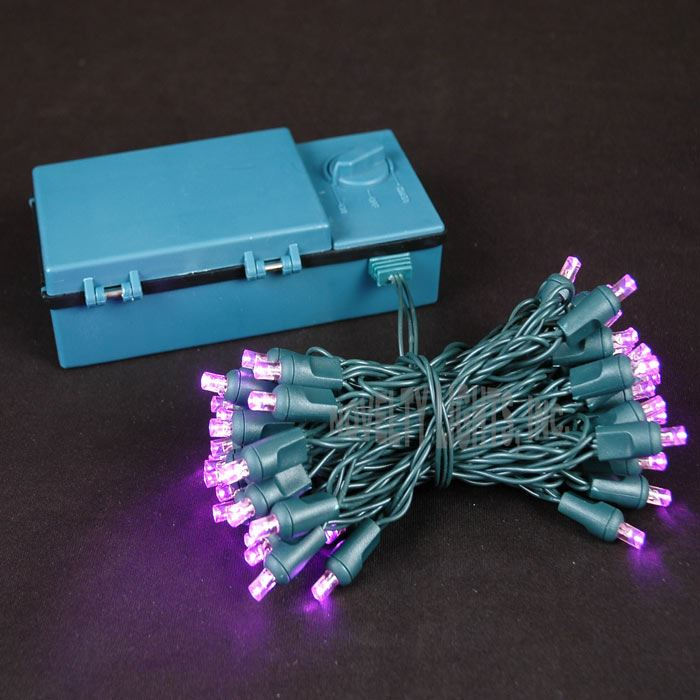 Novelty Lights 50 Light LED Battery Operated Christmas Mini Light Set, Green Wire, 18' Long