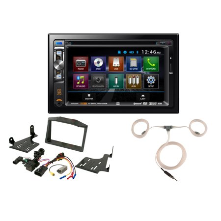 Powersport Audio: Dual 2-DIN Touchscreen USB DVD CD MP3 Bluetooth Stereo Receiver, Scosche Dash Install Kit (Fits 2015-Up Polaris Slingshot), Enrock Marine Flexible AM/FM