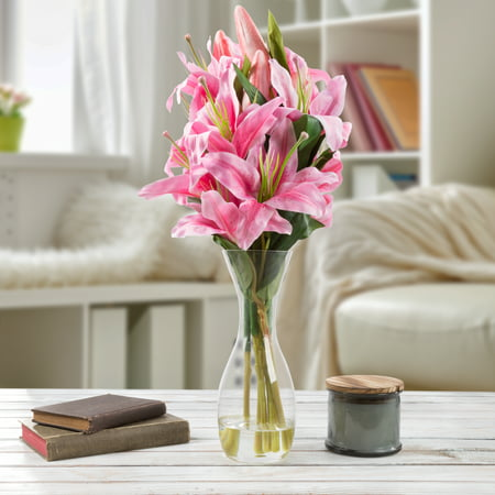 Tall Lily Artificial Fl Arrangement With Vase And Faux Water Fake Flowers For Home Decor