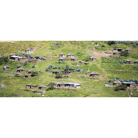 Lesotho village on the side of a mountain South Africa Canvas Art - Panoramic Images (36 x 12)