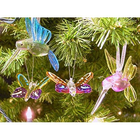 Crystal Hummingbird & Butterfly Ornaments Gift Set with Glitter Accents - Butterfly Ornaments For Christmas