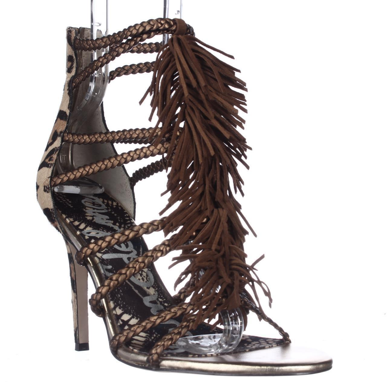 Womens Sam Edelman Savannah Fringe Dress Sandals - Chesnut/Leopard