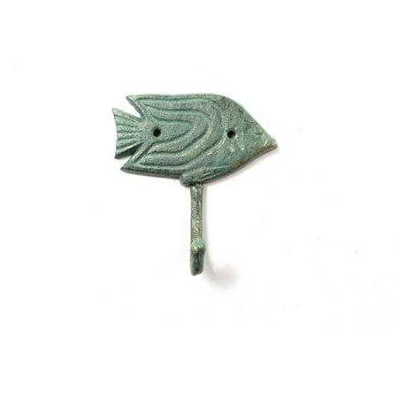 Antique Seaworn Bronze Cast Iron Angel Fish Wall Hook 5