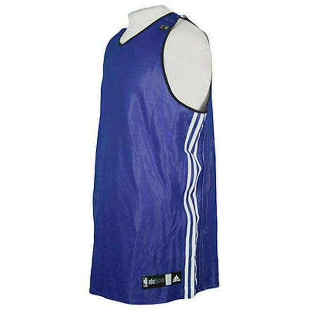 Adidas NBA Men's Athletic 3 Stripe Fusion Blank Jersey, Dark Blue