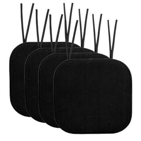 Memory Foam Honeycomb Non-Slip Back Chair Cushion Pad with Ties 4 Pack Black Garden Collection Back Cushion Canvas