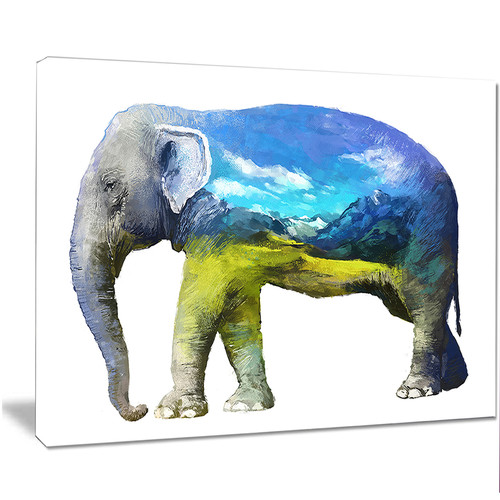 Design Art 'Elephant Double Exposure Illustration' Graphic Art on Wrapped Canvas