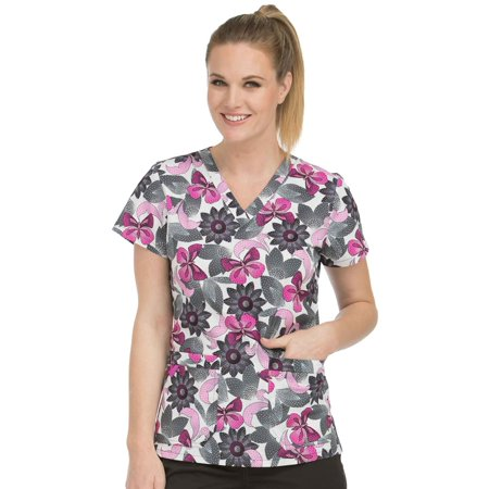 dd112196792 Med Couture - MC2 by Med Couture Women's Niki V-Neck Floral Print Scrub Top  - Walmart.com