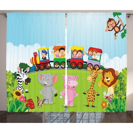 Cartoon Curtains 2 Panels Set, Kids Nursery Design Happy Children on a Choo Choo Train with Safari Animals Artwork, Window Drapes for Living Room Bedroom, 108W X 90L Inches, Multicolor,