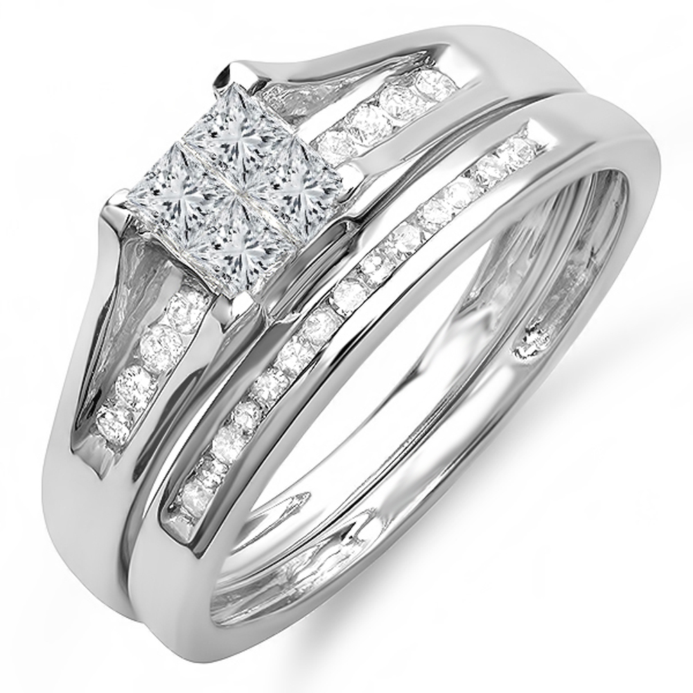 0.50 Carat (ctw) 14K Gold Round & Princess Cut White Diamond Ladies Bridal Engagement Ring Set 1/2 CT