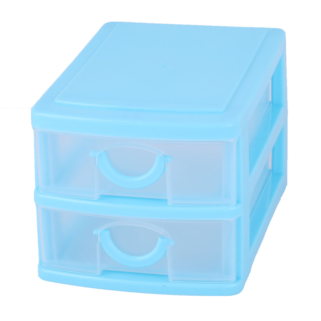 Family Dresser Plastic 2 Layers Trinket Make Up Container Desk Storage Box  Blue