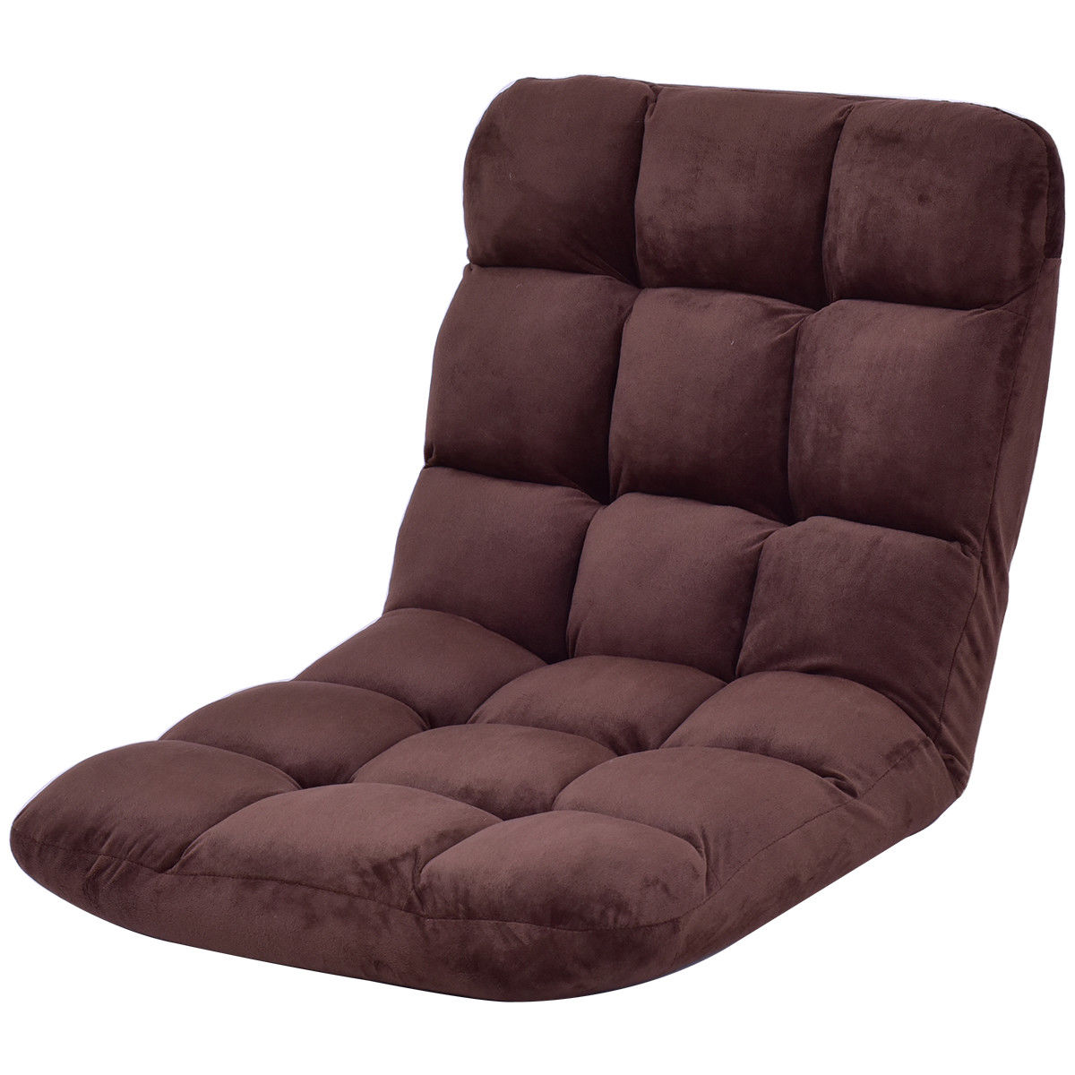 Costway Cushioned Floor Gaming Sofa Chair Folding 5 Positon Adjustable Recliner Brown