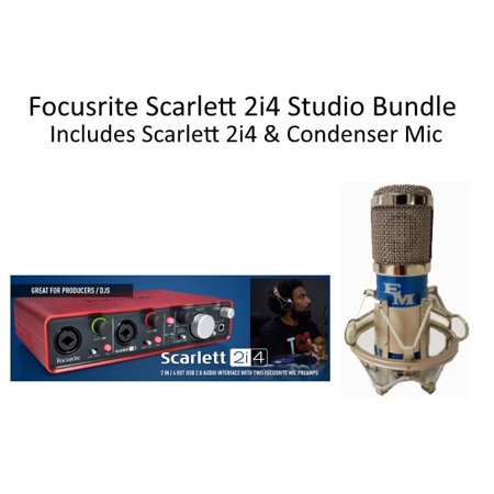 Focusrite Scarlett 2i4 w/EM-1A Pro Condenser Mic Shock mount & Cable