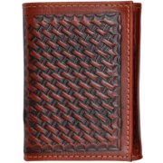 3D Western Wallet Mens Leather Trifold Basketweave Tan AW95