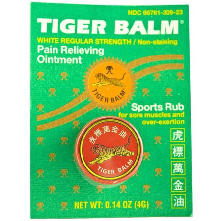 Tiger Balm Pain Relieving Ointment White Regular Strength, .14 OZ (Pack of 6)