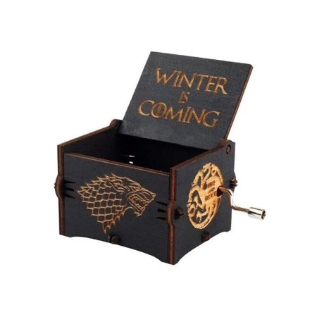 Levanco Game of Thrones Wood Muisc Box,Antique Carved Wooden Hand Crank Musical Boxes Best Gift for Birthday