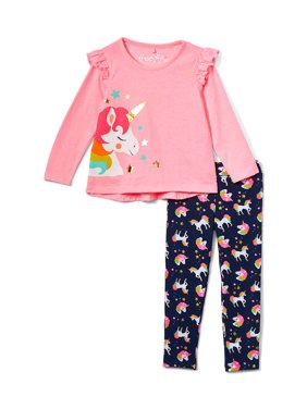 Freestyle Revolution Ruffle Sleeve Unicorn Top & Printed Leggings, 2pc Outfit Set (Baby Girls & Toddler Girls)