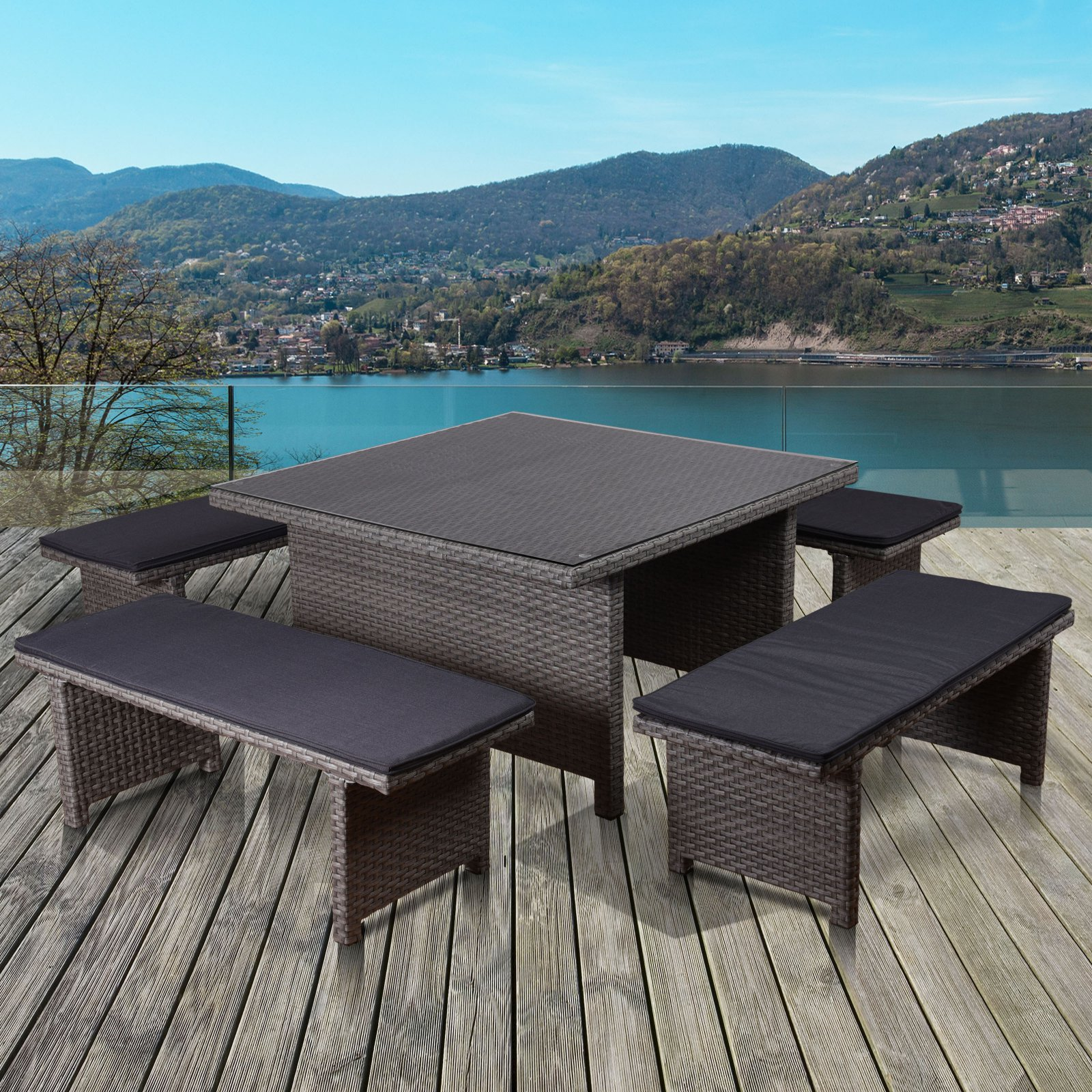 Atlantic Bellagio Wicker 5 Piece Square Patio Low Dining Set