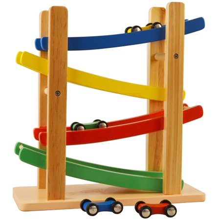 Wooden Car Ramps Race - 4 Level Toy Car Ramp Race Track Includes 4 Wooden Toy Cars - My First Baby Toys - Race Car Ramp Toy Set Is A - Great Gifts For 2 Yr Old Girl