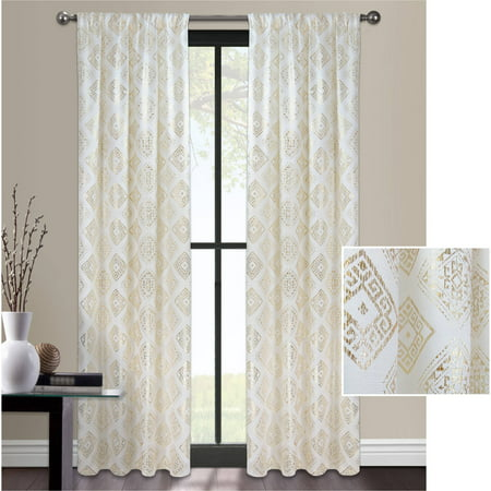 Metallic Foil Curtain (Mainstays Aztec Foil Metallic Window Curtain)