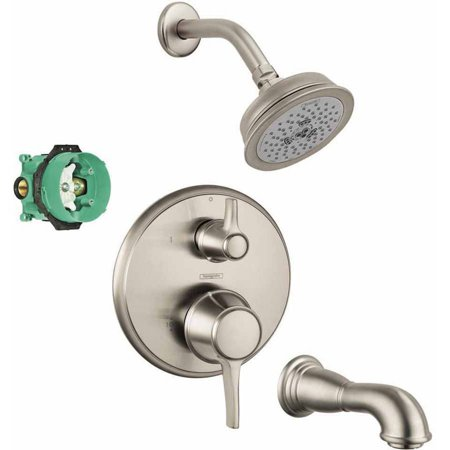 Hansgrohe KST04449-04070-88RB Croma Shower Faucet Kit with Tub Spout PBV Trim with Diverter and Rough-In, Various Colors