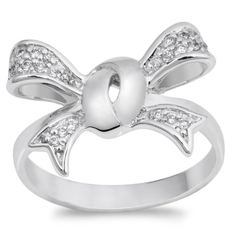 White CZ Wide Ribbon Bow Gift Knot Ring New .925 Sterling Silver Band Size 8