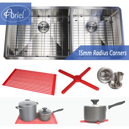 - Ariel 42 Inch 16 Gauge Undermount Double Bowl Stainless Steel Sink Premium Dish Rack Package 15mm Radius Design