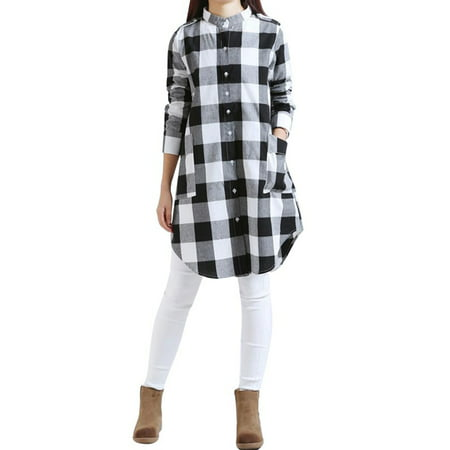 EFINNY Women Plaid Cotton Linen Shirt Dress