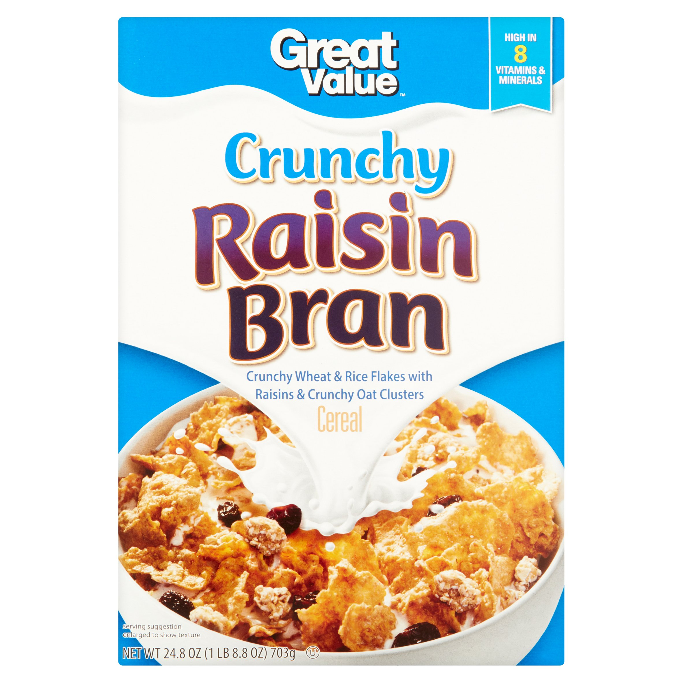 Great Value Crunchy Raisin Bran Cereal, 24.8 oz