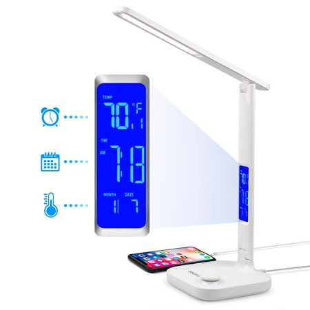 INNOKA UL Certified 180 Degree Adjustable Eye-friendly LED Tabletop Lamp with 3 Color Temperatures, Built in LCD Display Temperature Clock Calendar, 5V USB Charging Port