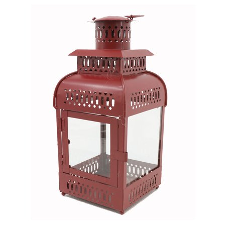 - Distressed Red Finish Metal Decorative Candle Lantern 16 Inches Tall
