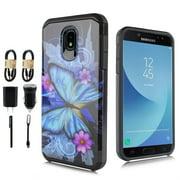 "~ VALUE PACK~ for 5.5"" Samsung Galaxy J7 2018 Aero Top Crown Aura Refin Eon Star Case Slim Hybrid Dual Layer BLUEBUTTERFLY"