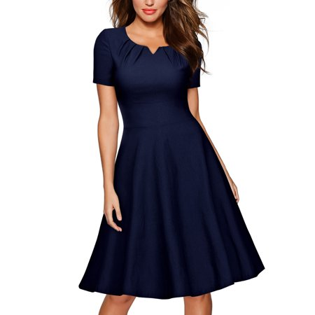 MIUSOL Women's Retro 1950s Short Sleeve A-Line Cocktail Party Swing Dresses for Women (Navy Blue L)