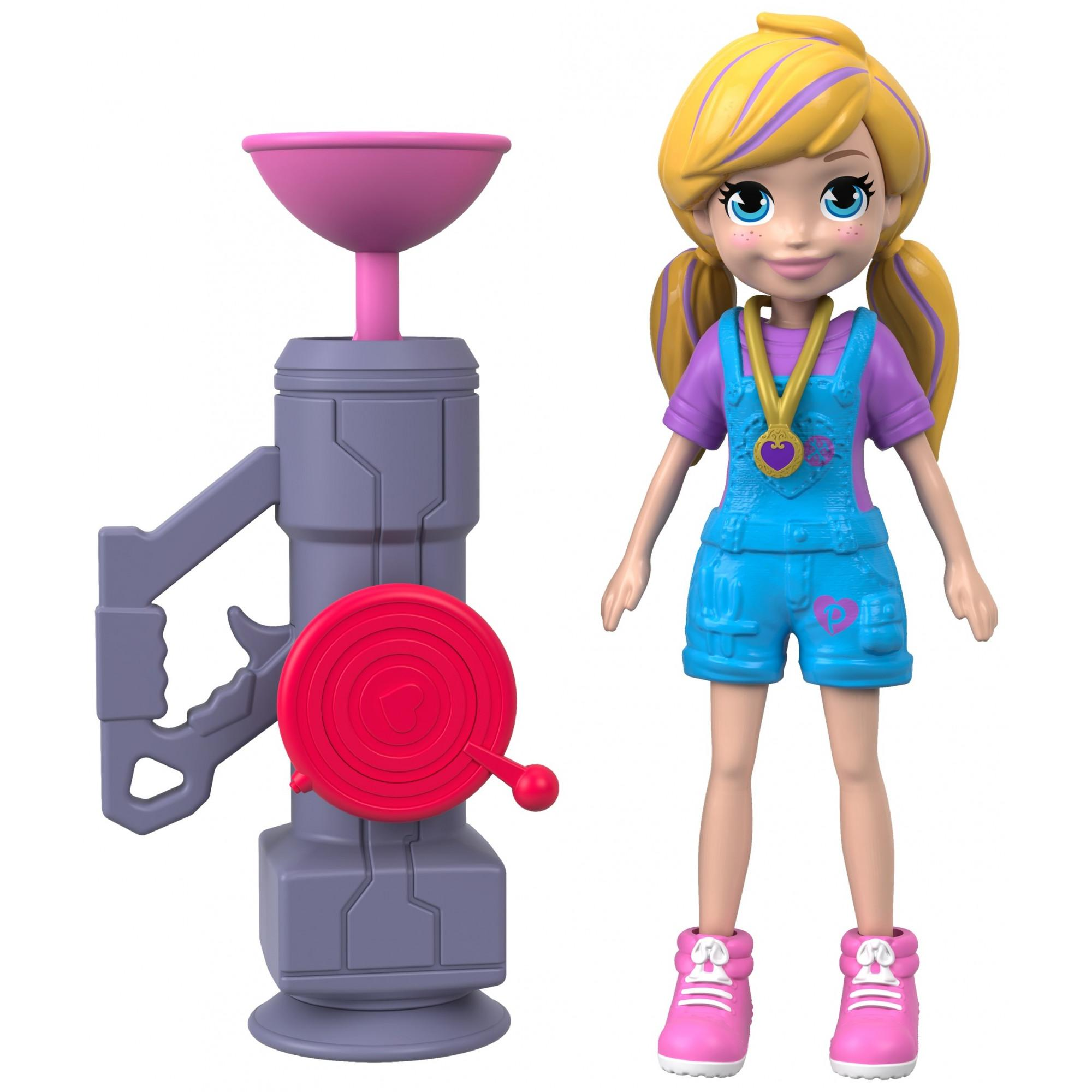 Polly Pocket Active Pose Zip 'n' Blast Zipline Blaster Adventure Polly Doll, Blonde