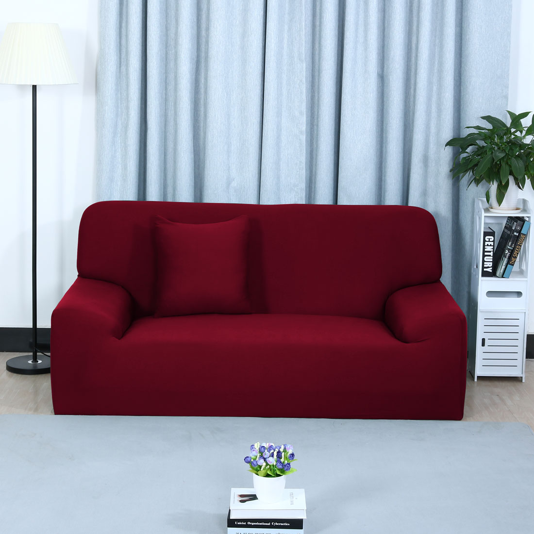 PiccoCasa Stretch Polyester 3 Seats Sofa Couch Covers Slipcovers, Solid Color