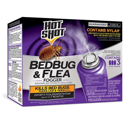 95911 Bedbug and Flea Fogger, (3 count), KILLS BED BUGS AND FLEAS: Hot Shot BedBug & Flea Fogger also controls lice, ticks and other listed insects. By Hot Shot