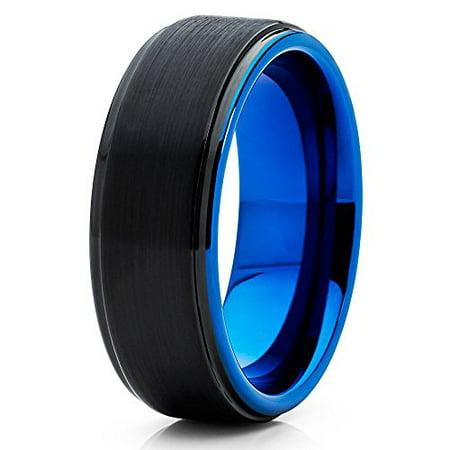 8mm Tungsten Wedding Band Black & Blue Tungsten Ring Tungsten Carbide Ring Anniversary Band Men & Women Comfort Fit (Comfort Fit Tungsten Carbide)
