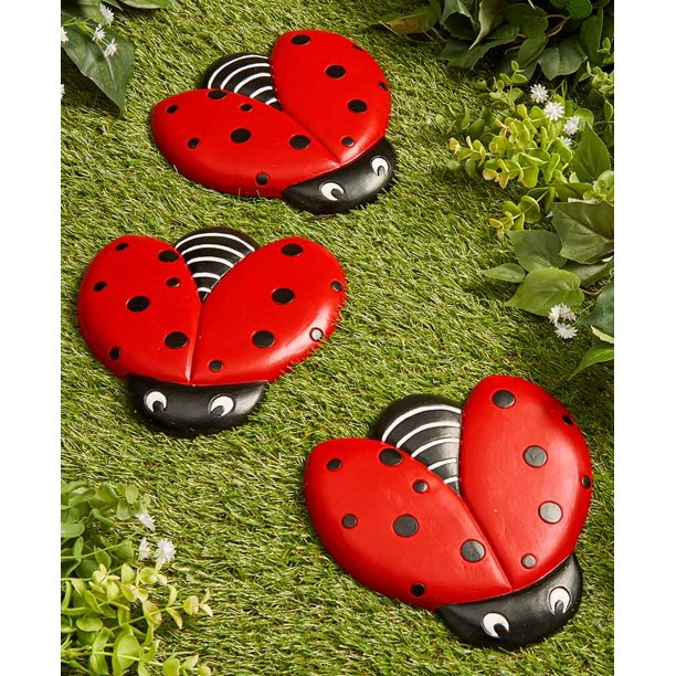 Ladybug Stepping Stones For Gardens And Outdoor Flower Beds Set