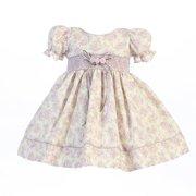 Lito Baby Girls Lilac Floral Print Smocked Waist Dress 0-3M