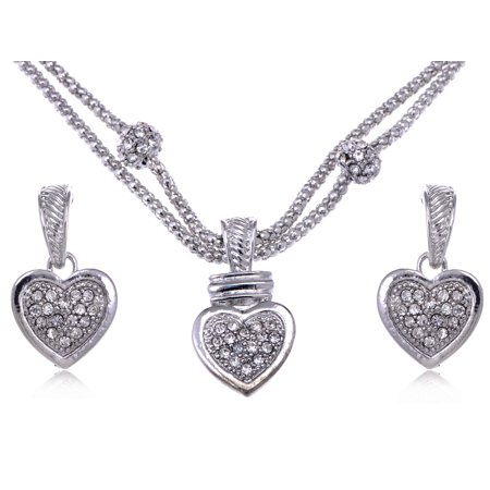 Crystal Heart Bag - Clear Crystal Rhinestone Big Full Heart Chain Rope Earrings Necklace Pendant Set