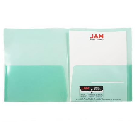 JAM Paper Plastic Light Weight Two Pocket Presentation Folder, Green, pack of 6 Folder