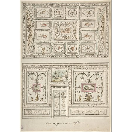 Celing Decorations (Design for the Decoration of a Wall and Ceiling of a Gabinetto related to Virgils Fourth Canto Poster Print by Felice Giani (Italian San Sebastiano Curone near Alessandria 1758 )